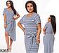 Модное асимметричное платье с коротким рукавом (серый) 829262, фото 3