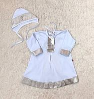 """Крестильная рубашка с шапочкой """"Ангел"""", белая с золотым, 62-68-74 р., фото 1"""