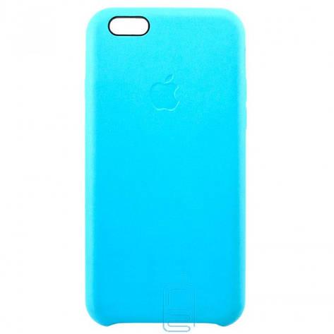 Чехол силиконовый Leather Apple iPhone 6 голубой, фото 2