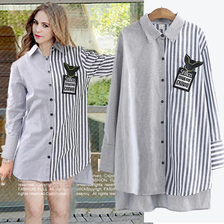 Удлиненная женская рубашка в полосочку 44-50 (в расцветках)