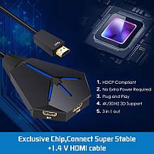 Cплиттер-разветвитель-хаб с 1 порта HDMI на 3 порта HDMI, фото 3