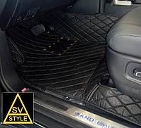 Коврики на Audi Q7 Кожаные 3D (2015-2019) Чёрные, фото 1