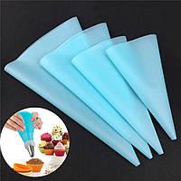Набор силиконовых мешков для кондитерских  насадок 4 шт голубые