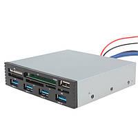 Кардридер внутренний мульти 3,5дюйма USB-USB 3.0 MS-CF-SD-XD-TF-M2, фото 1