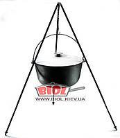 Казан (котелок) чугунный походный 20л 40см с алюминиевой крышкой, дужкой и треногой 1,2м БИОЛ 0720АК-3