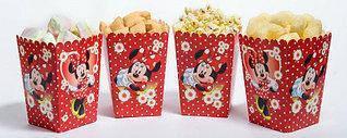 Коробочки стаканчики бумажные для сладостей и попкорна Минни Маус 5 штук