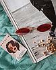 Солнцезащитные очки женские красные стеклянные узкие овальные, фото 2