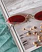 Солнцезащитные очки женские красные стеклянные узкие овальные, фото 3
