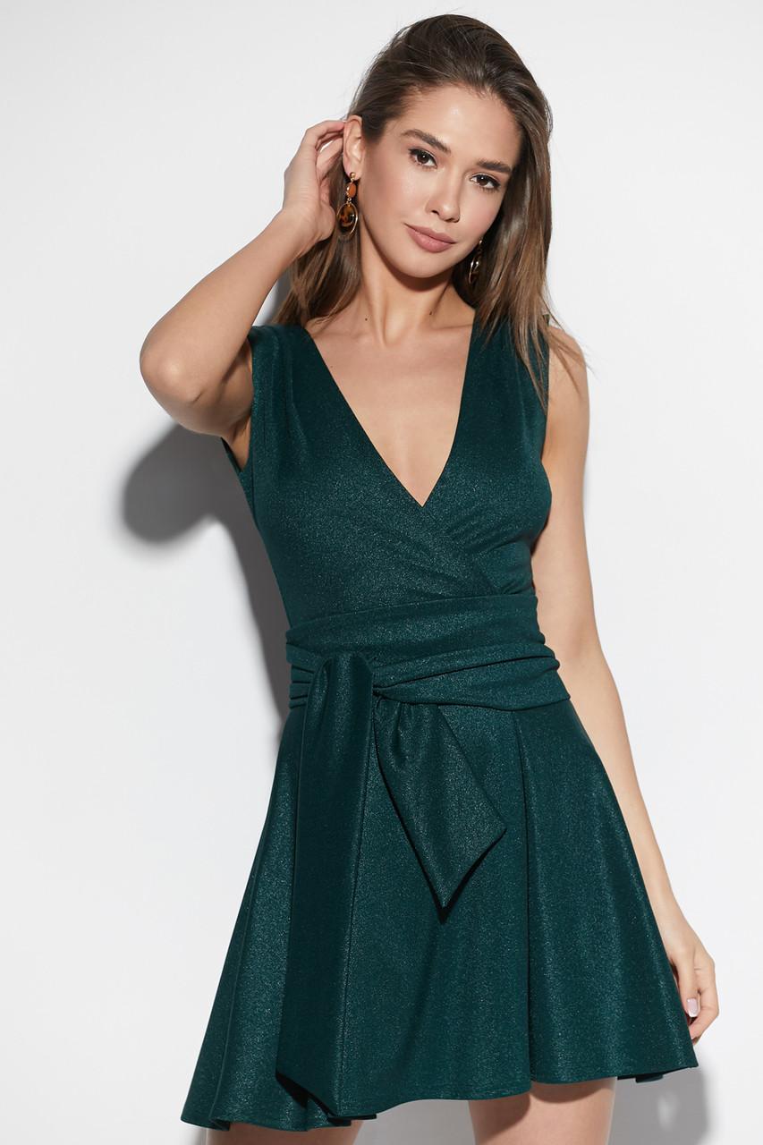 Платье мини коктейльное зеленое