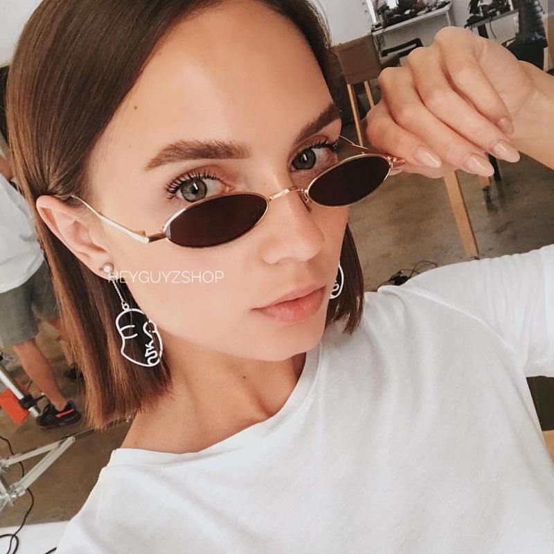Солнцезащитные очки женские черные овальные стеклянные узкие