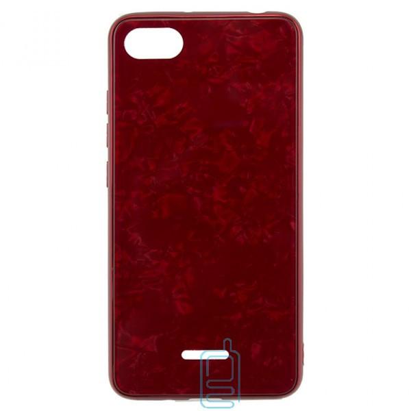 Чехол накладка Glass Case Мрамор Xiaomi Redmi 6A красный