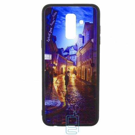 Чехол накладка Glass Case New Samsung A6 Plus 2018 A605 переулок, фото 2