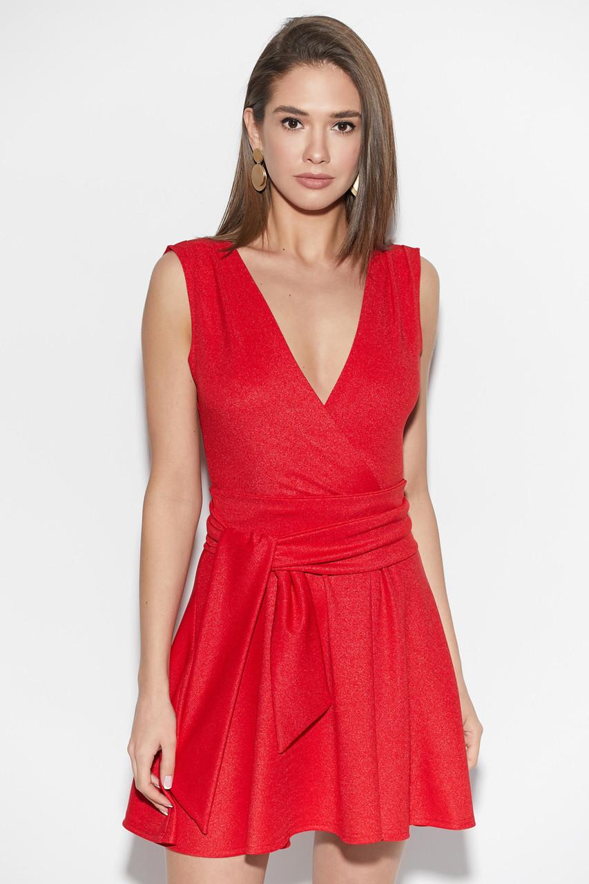 Красное платье мини коктейльное