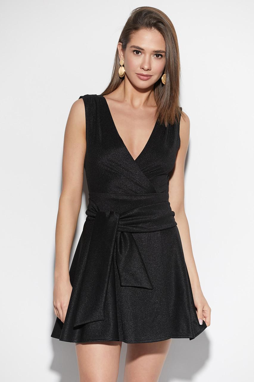 Черное платье мини коктейльное