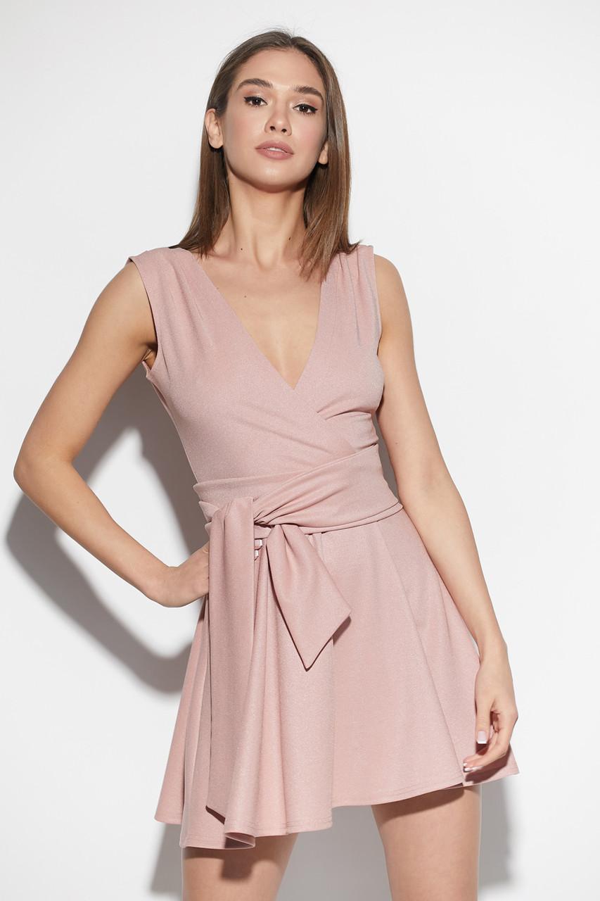 Платье мини коктейльное пудровое