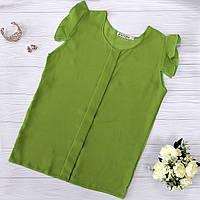 Оливковая шифоновая блузка, фото 1