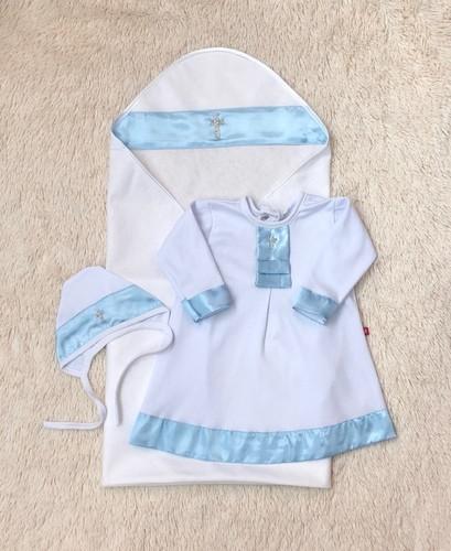 Крыжма с рубашкой Ангел, белая с голубым