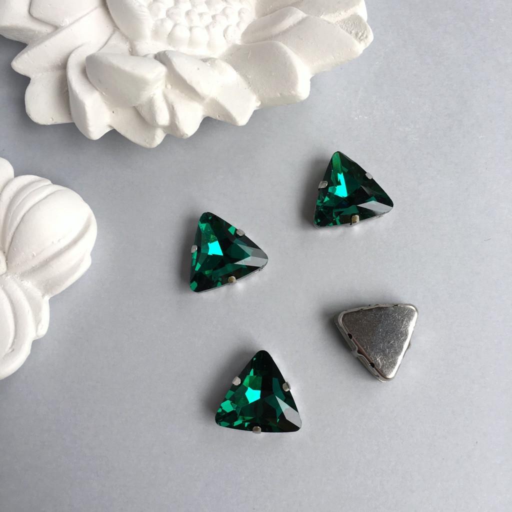 Стразы в цапах. Треугольник. 18 мм. Цвет: Malachite green (малахит зеленый)
