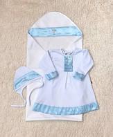 """Крестильная пеленка + рубашка """"Ангел"""" белая с голубым, фото 1"""