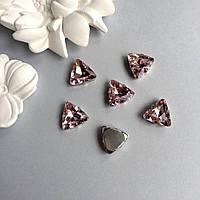 Стразы в оправах. Треугольник. 18 мм. Цвет: Pale rose(Пудово-розовый), фото 1
