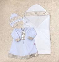 """Крестильная пеленка + рубашка """"Ангел"""", белая с золотым, фото 1"""