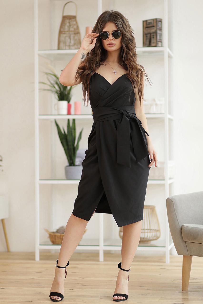 Сандра Платье черное на запах