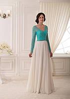Модное платье макси с длинным рукавом