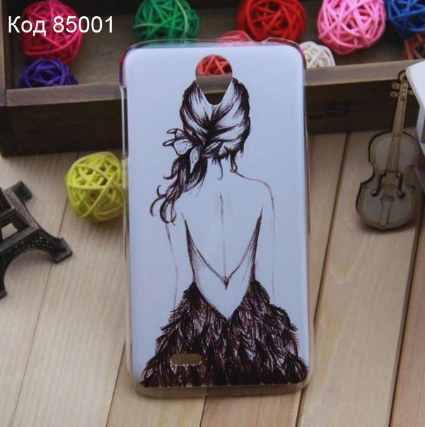 Чехол на Lenovo A850 оригинальная панель накладка с рисунком девушка с косой