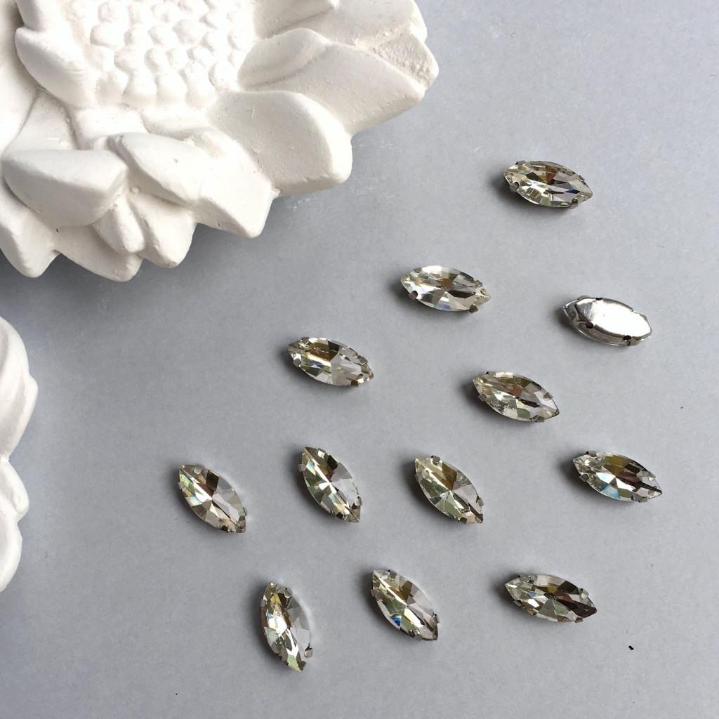 Кристаллы Маркизы (лодочки) 7х15 мм в цапах. Цвет: Crystal(Прозрачный белый)