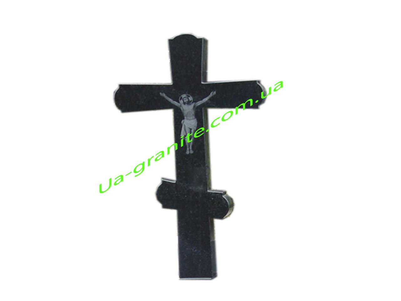 Православний хрест із граніту на цвинтар чорного кольору.