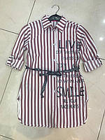 36660cf950c Рубашка удлиненная для девочки подростка 8-16 лет красного