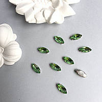 Кристаллы Маркизы (лодочки) 7х15 мм в цапах. Цвет: Light green (Салатовый)