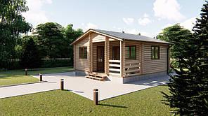 Дом деревянный из профилированного бруса 6х6 м с террасой. Кредитование строительства деревянных домов