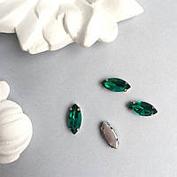 Кристаллы Маркизы (лодочки) 7х15 мм в цапах. Цвет: Malachite green (малахит зеленый)