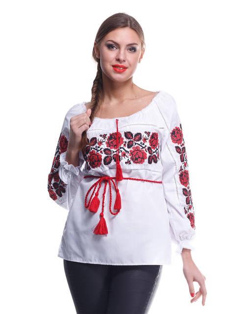 """Рубашка вышиванка женская """"Троянда"""" красная"""