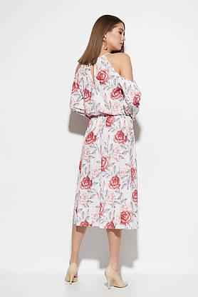 Платье миди с открытыми плечами и цветочным принтом белое, фото 2