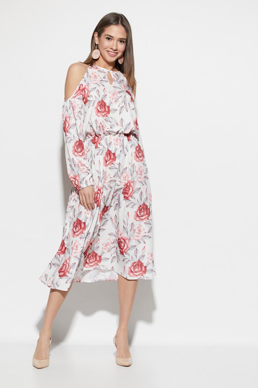 Платье миди с открытыми плечами и цветочным принтом белое