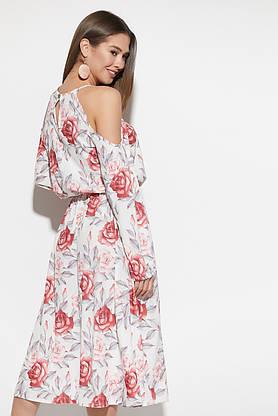 Платье миди с открытыми плечами и цветочным принтом белое, фото 3