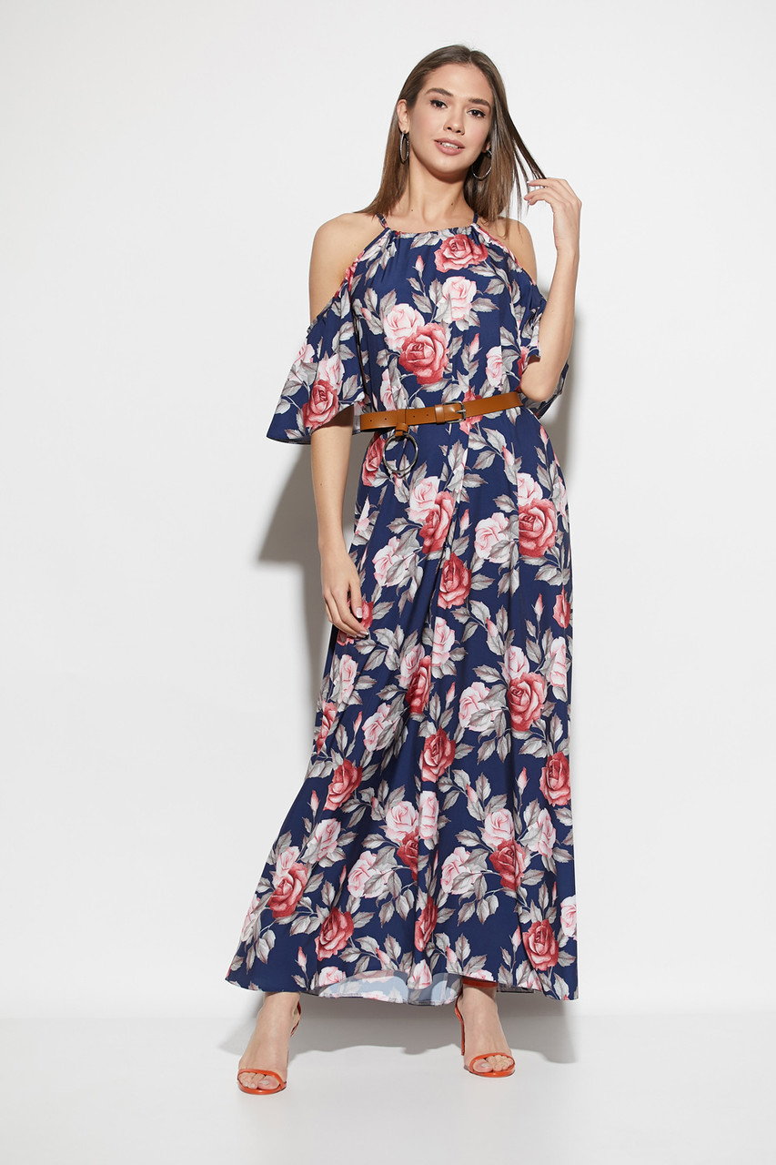 Платье в пол с открытыми плечами и цветочным принтом темно-синее