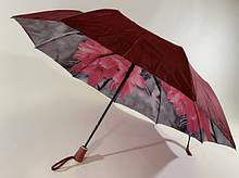 Бордовый зонт полуавтомат с двойной тканью и цветами под куполом на 9 спиц