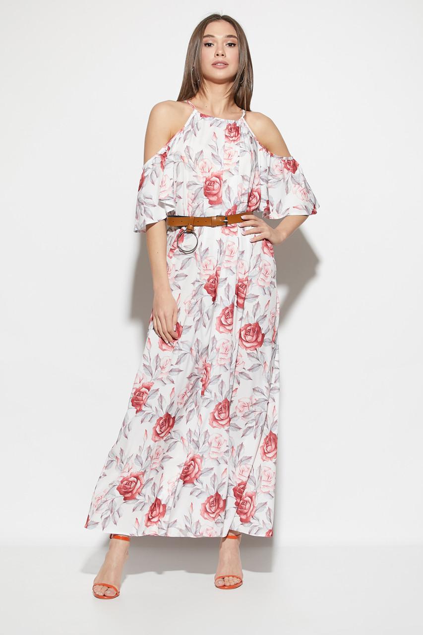 Платье в пол с открытыми плечами и цветочным принтом белое