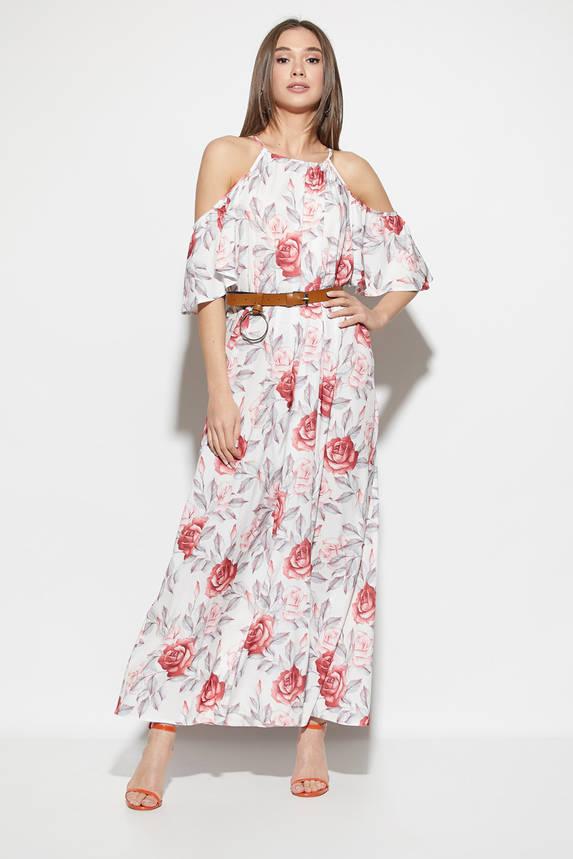 Платье в пол с открытыми плечами и цветочным принтом белое, фото 2