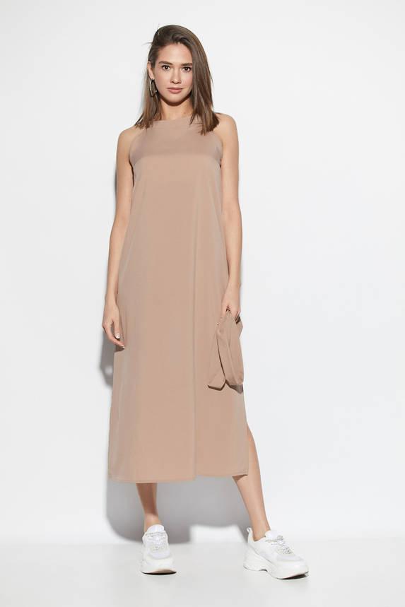 Длинное летнее платье с поясом бежевое, фото 2