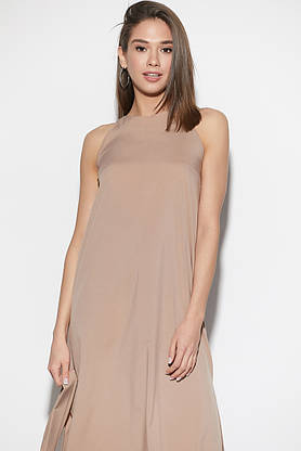Длинное летнее платье с поясом бежевое, фото 3