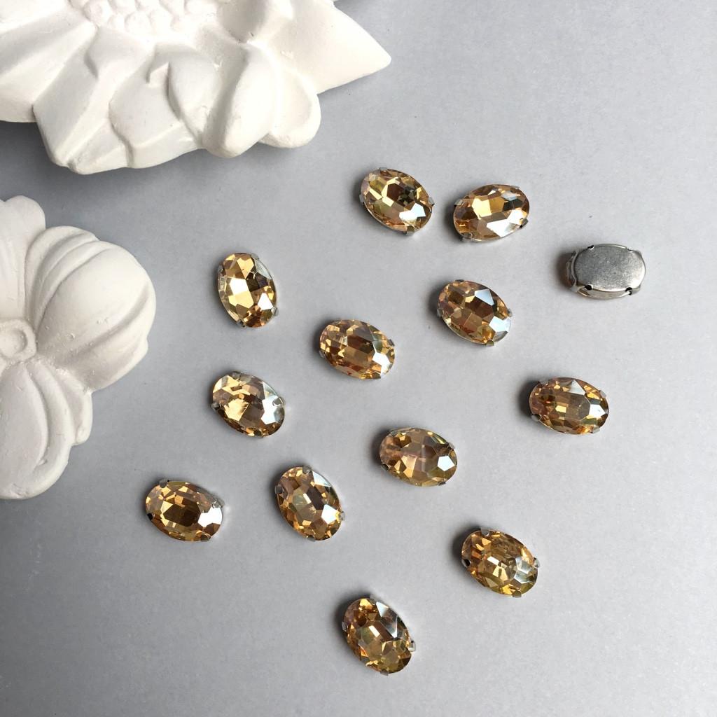 Кристаллы Овалы 10х14 мм в цапах. Цвет: Champagne(Шампань)
