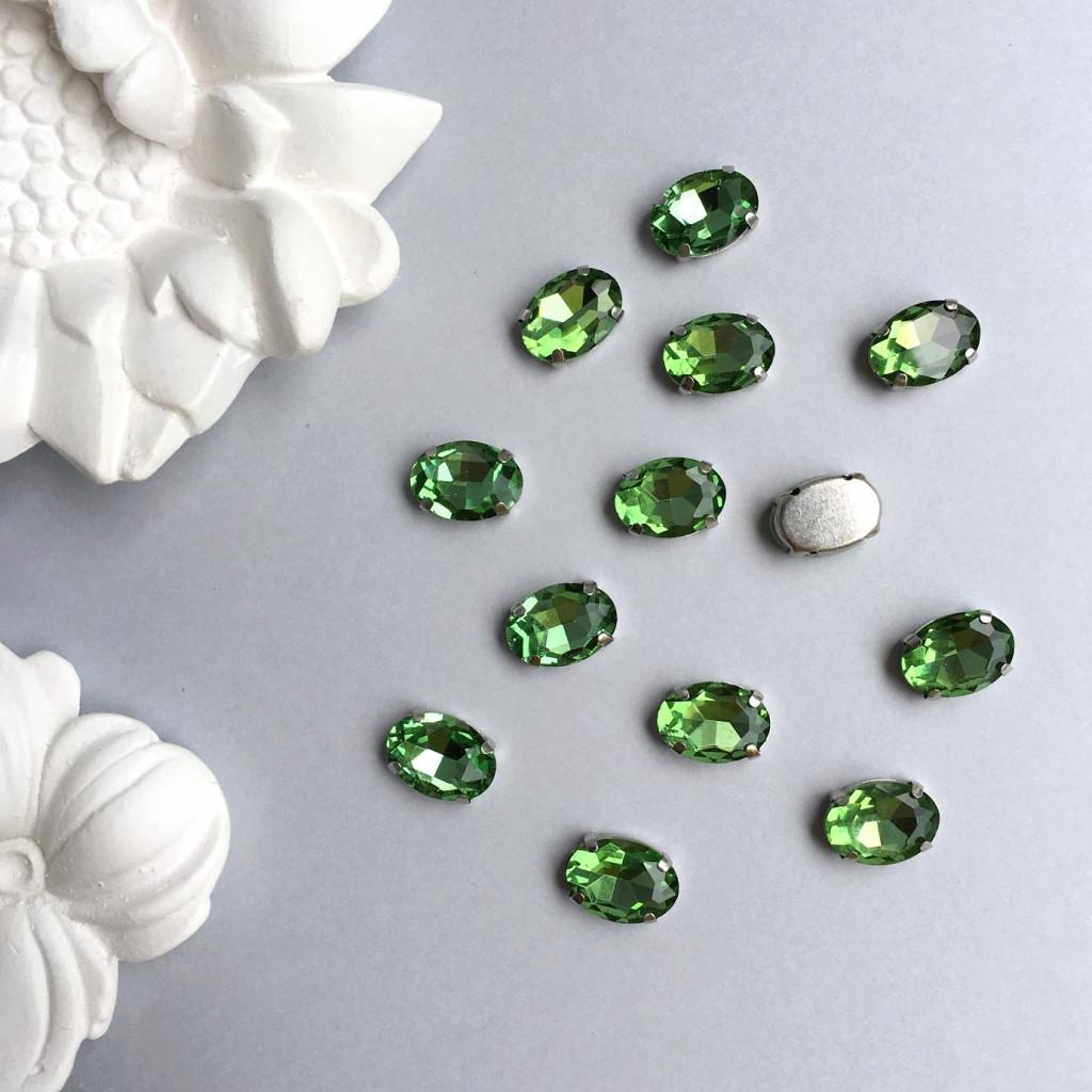 Кристаллы Овалы 10х14 мм в цапах. Цвет: Light green (Салатовый)