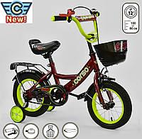 """Двухколесный велосипед Corso надувные  колеса 12"""" красный"""