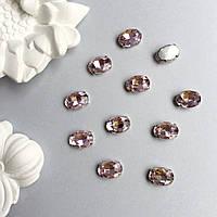 Кристаллы Овалы 10х14 мм в цапах. Цвет: Pale rose(Пудово-розовый)