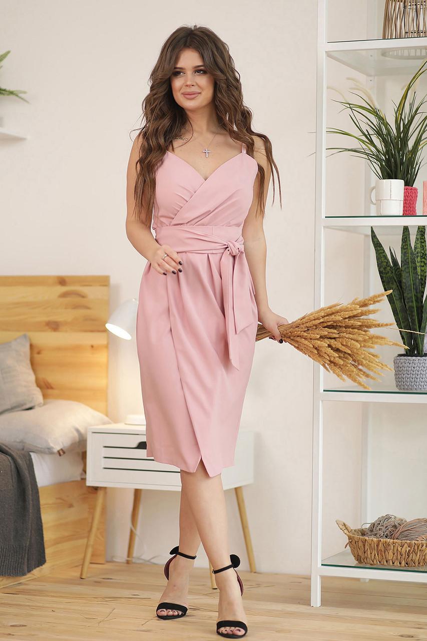 Сандра Платье цвета пудры на запах