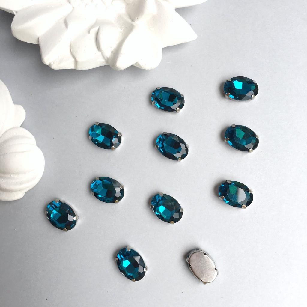 Кристаллы Овалы 10х14 мм в цапах. Цвет: Deep blue(Глубокий голубой)